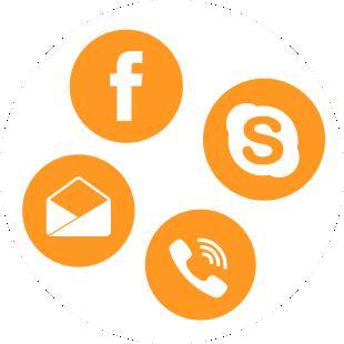 ikonok: email, facebook, telefon
